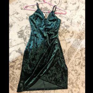 WINDSOR Emerald velvet deep V Mini dress